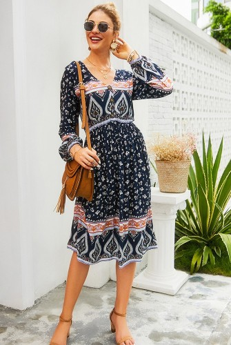 Navy Floral V Neck Buttoned Dress