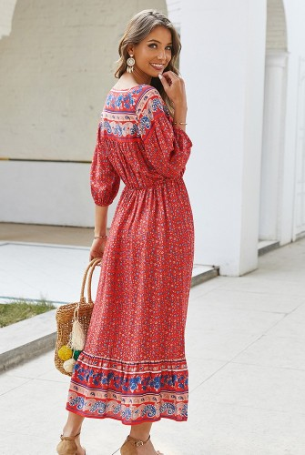 Red Boho Floral Printed Dress XC414