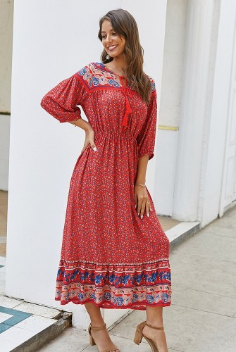 Red Boho Floral Printed Dress