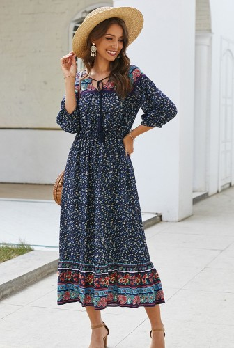 Navy Boho Floral Printed Dress