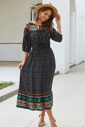 Black Boho Floral Printed Dress