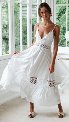 White Deep V Open Lace Combined Dress