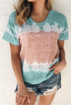 Light Green Tie Dyed Top Plus Size