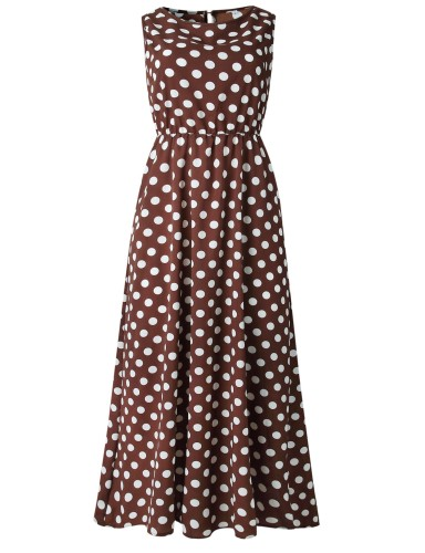 Coffee Dot Print Sleeveless Dress XC101110