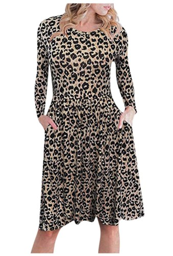 Brown Leopard Dress with Side Pocket XC453