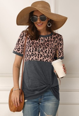 Grey Leopard Front Twisted Top