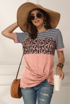 Pink Leopard Striped Twisted Top