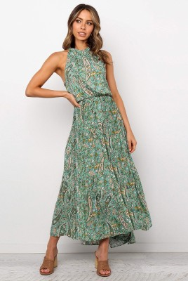 Light Green Halter Floral Draw Cord Waist Dress
