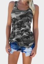 Army Green Camouflage Plus Size Tank Top