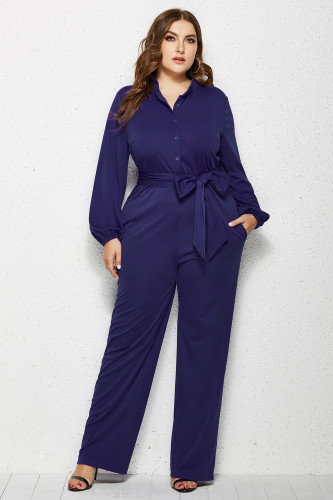 Dark Blue Solid Color Plus Size Jumpsuit with Belt