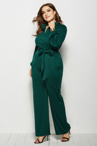 Green Solid Color Plus Size Jumpsuit with Belt