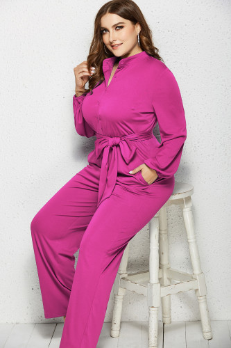 Rose Red Solid Color Plus Size Jumpsuit with Belt XC485