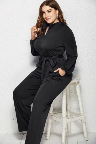 Black Solid Color Plus Size Jumpsuit with Belt XC485