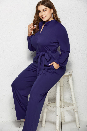 Dark Blue Solid Color Plus Size Jumpsuit with Belt XC485