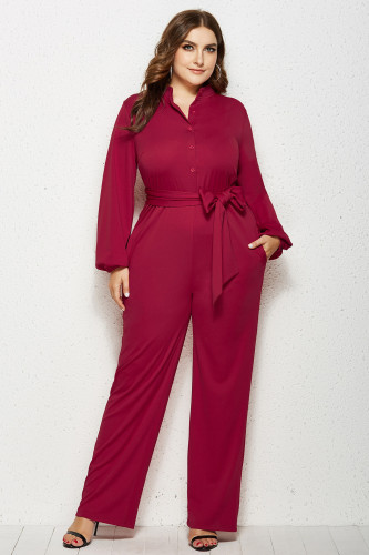 Red Solid Color Plus Size Jumpsuit with Belt