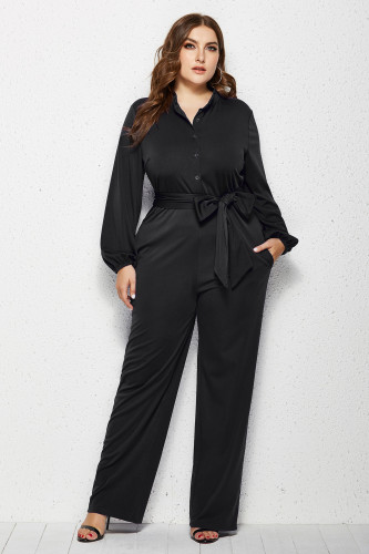 Black Solid Color Plus Size Jumpsuit with Belt
