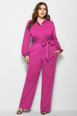 Rose Red Solid Color Plus Size Jumpsuit with Belt