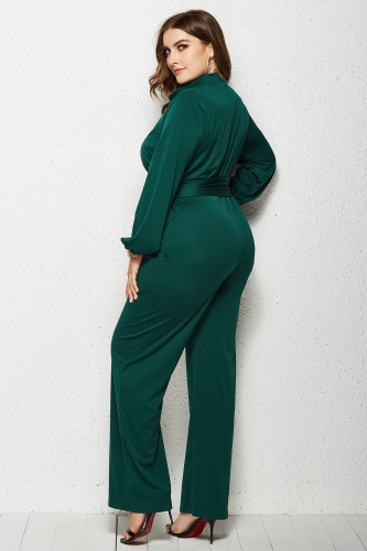Green Solid Color Plus Size Jumpsuit with Belt XC485