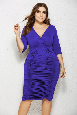 Blue V Neck Ruffled Plus Size Bodycon Dress