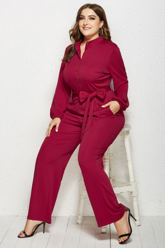 Red Solid Color Plus Size Jumpsuit with Belt XC485