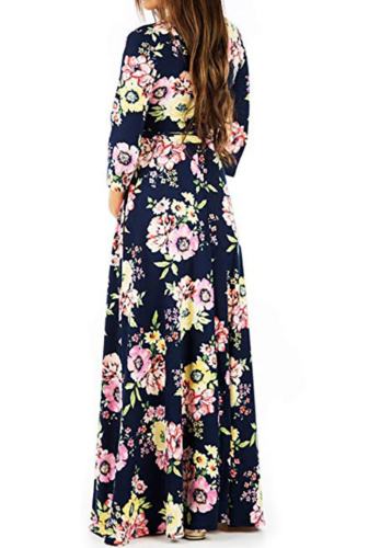 Navy Floral Print Maxi Maternity Dress XC486