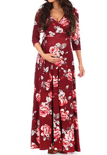 Wine Red Floral Print Maxi Maternity Dress