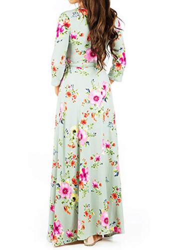 Light Green Floral Print Maxi Maternity Dress XC486