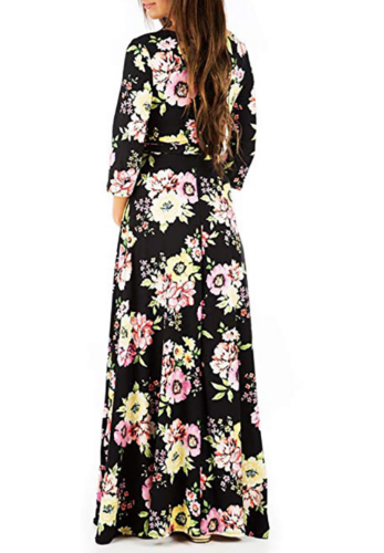 Black Floral Print Maxi Maternity Dress XC486