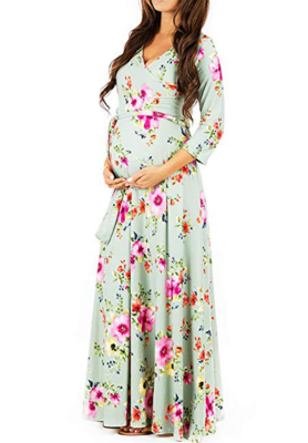 Light Green Floral Print Maxi Maternity Dress