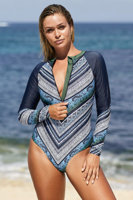 Sky Blue Long Sleeve Printed Zipper Surfing Rash Guard One Piece Swimsuit