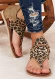 Brown Leopard Print Flat Sandals