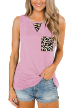 Pink Tank Top with Leopard Pocket