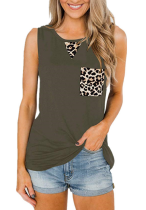 Army Green Tank Top with Leopard Pocket