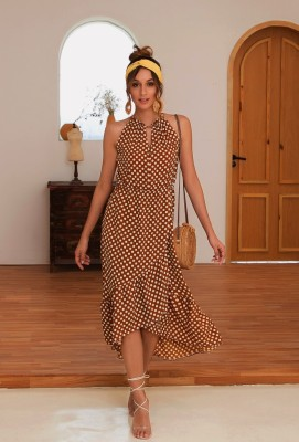 Coffee Irregular Dot Print Halter Dress