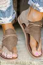 Kahki Leopard Print Flat Sandals