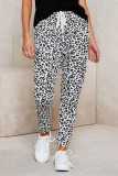 White Casual Skinny Leopard Print Pants
