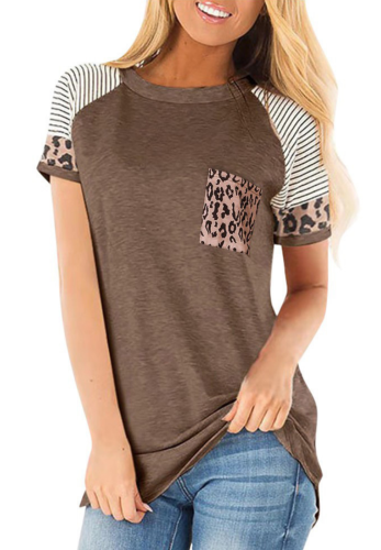 Coffee Striped Sleeve Top with Leopard Pocket