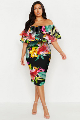 Black Plus Off Shoulder Floral Ruffle Midi Dress