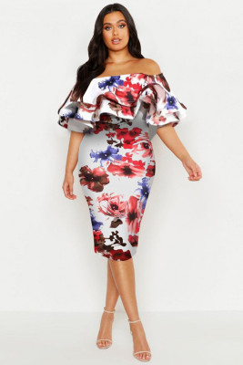 White Plus Off Shoulder Floral Ruffle Midi Dress