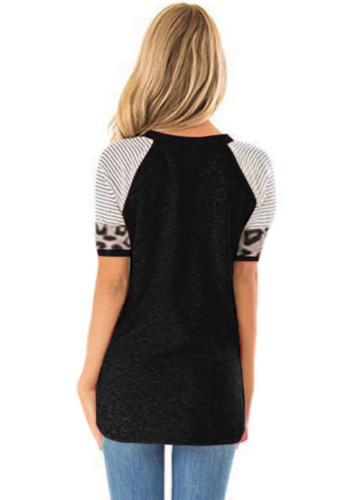 Black Striped Sleeve Top with Leopard Pocket XC536