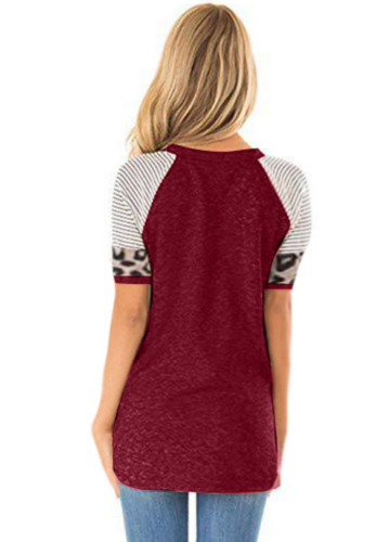 Wine Red Striped Sleeve Top with Leopard Pocket XC536