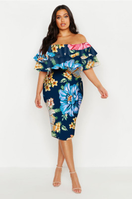 Blue Plus Off Shoulder Floral Ruffle Midi Dress