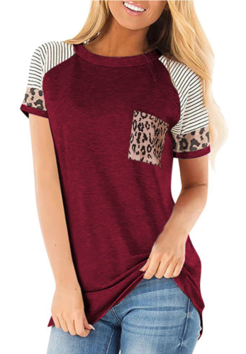 Wine Red Striped Sleeve Top with Leopard Pocket