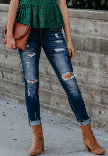 Dark Blue Ripped Washed Jeans