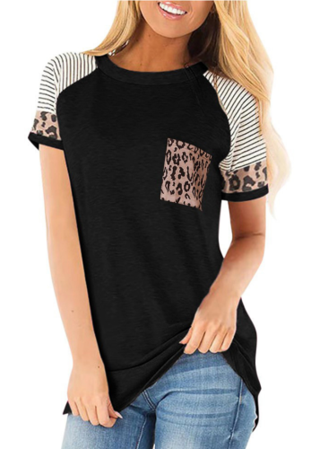 Black Striped Sleeve Top with Leopard Pocket