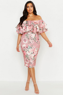 Pink Plus Off Shoulder Floral Ruffle Midi Dress