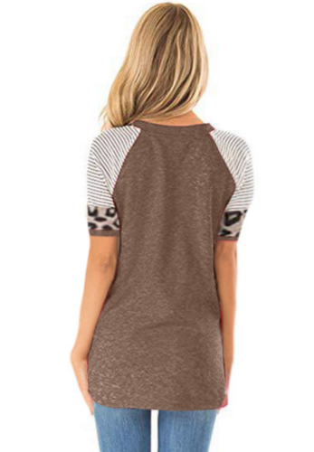 Coffee Striped Sleeve Top with Leopard Pocket XC536