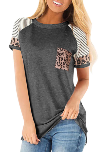 Dark Grey Striped Sleeve Top with Leopard Pocket