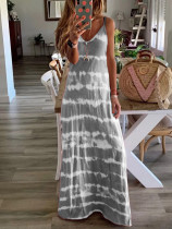 Grey Tie Dye Spaghetti Straps Plus Size Dress