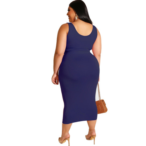 Dark Blue Solid Color Casual Outfits Bodycon Plus Size Two Piece Set GJ626
